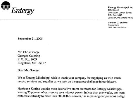 Serving mississippi what customers are saying about catering by letter of thanks for entergy for help during hurricane katrina expocarfo Images
